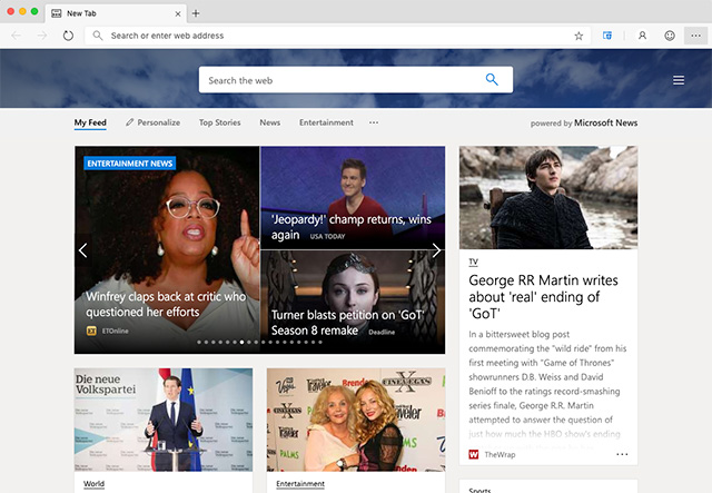 Microsoft Edge preview builds